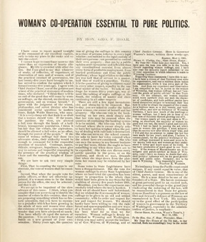 Woman's Co-operation Essential to Pure Politics. By Hon. Geo. F. Hoar [caption title]. Hoar,...