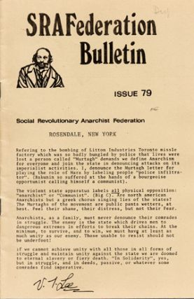 SRAFederation Bulletin. Issue 79. Social Revolutionary Anarchist Federation