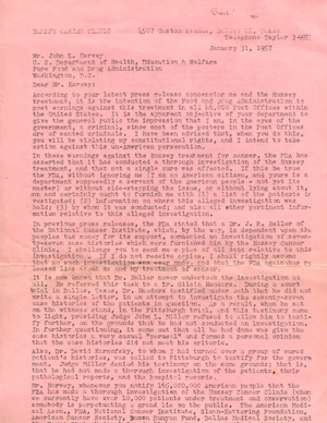 Printed typescript open letter from cancer quack Harry Hoxsey, addressed to John L. Harvey of the...