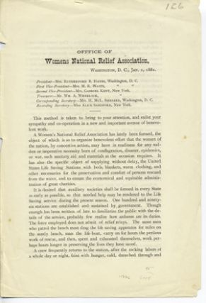 Office of Womens National Relief Association, Washington, D. C., Jan. 1, 1881 [caption title]....