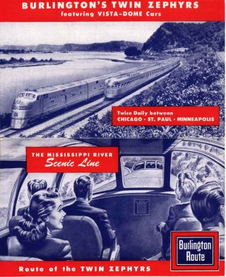 The Mississippi River Scenic Line. Route of the Twin Zephyrs . . . [wrapper title]. Burlington...