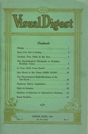 Visual Digest . . . Winter Issue, 1941. Vol V, No. 3 [wrapper title]. American Optometric Association, O. D. Walter F. Kimball, O. D. M. Rhudy Kimball.