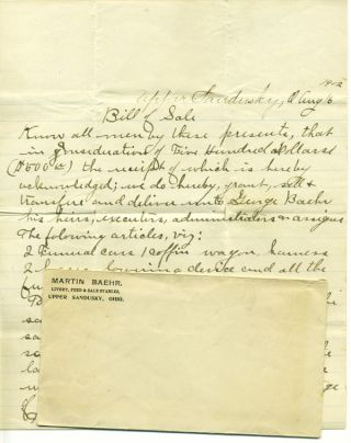 Bills of sale and correspondence relating to business matters for the Baehr family of Upper...