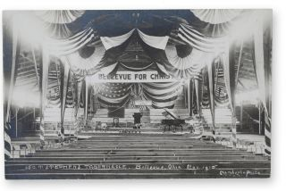 "Real photo postcard, captioned in the image, ""Geo. T. Stephens Tabernacle, Bellevue, Ohio, Nov...."