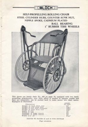 Bloch Wheel Chairs and Accessories . . . [wrapper title]. Trade Catalogue, Hospital Supply Company