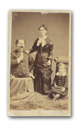 "Original carte de visite (CDV) portrait, ""Eli Bowen, Wife and Child."" Circus, Allied Arts"