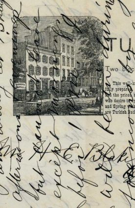 Autograph letter, signed, to H. E. Blake of Cold Spring, N. Y., on Hygienic Hotel and Turkish...