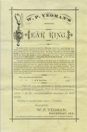 "Two promotional circulars, with the original pictorial cover, ""W. P. Yeoman's Improved Ear Ring,"" with ""Don't Pierce Your Ears!"""