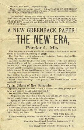 A New Greenback Paper! The New Era, Portland, Me. . . . [caption title]. Greenback Party