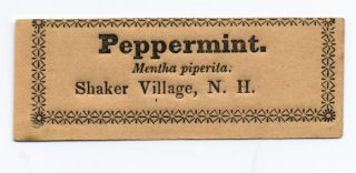 Peppermint. Mentha piperita. Shaker Village, N.H. Shaker, Labels
