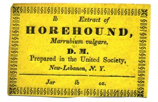 Extract of Horehound, Marrubium vulgare, D. M. Prepared by the United Society, New-Lebanon, N. Y....