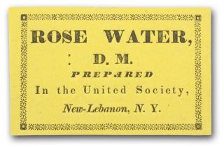 Rose Water D. M. Prepared in the United Society, New-Lebanon, N. Y. Shaker, Labels