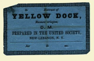 Extract of Yellow Dock, Rumex crispus, D. M. Prepared in the United Society, New-Lebanon, N. Y....