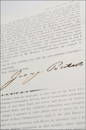 Printed circular signed in autograph ink by naval storekeeper George Bates printing a statement by John Barney in settlement of a slander case against Barney. Nautical Slander, George Bates.