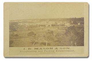 Original photo of a bucolic distant prospect of the I. B. Mason & Son slaughterhouse in Providence, Rhode Island. Food and Drink, I. B. Mason, Son.