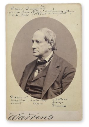 Cabinet card studio portrait of the Newburyport lawyer and politician Caleb Cushing (1800-1879),...