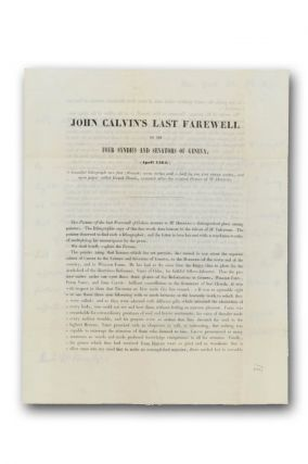Autograph letter, signed to Thomas E. Vermilye, on the prospectus for a lithographic portrait of John Calvin, noting the gift of the print to Vermilye.