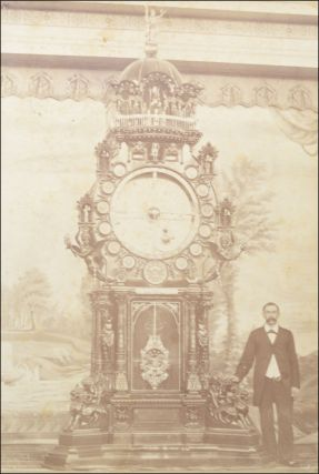 American National and Astronomical Clock. Felix Meier, Inventor. (Cabinet photo portrait of Meier and his clock.). Horology, Felix Meier, Detroit.