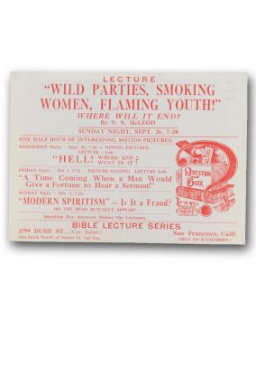 "Lecture ""Wild Parties, Smoking Women, Flaming Youth!"" Where Will it End? Smoking Women, Hell, N. S. McLeod."