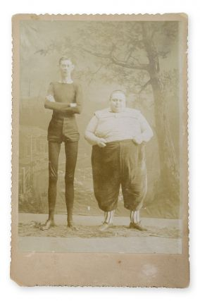 Cabinet photo of fat man Fred Howe and living skeleton George Moore. Sideshow, Photography, Fred Howe, George Moore.