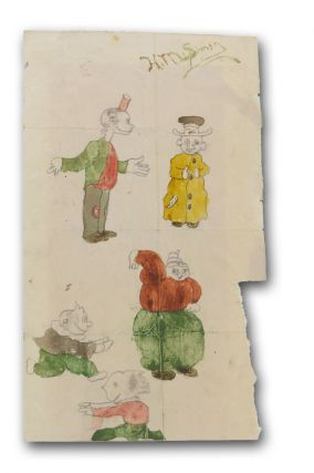Original pencil and water color fan art of early comic strip characters. Fandom, H. M. Simon, Comics
