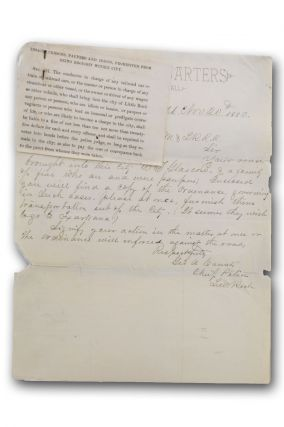 Autograph letter, signed, on Little Rock, Ark. police chief letterhead, to the Superintendent of the Memphis & Little Rock Railroad, notifying the railroad of violation of a local ordinance in transporting paupers to Little Rock. Social Engineering, George A. Counts.