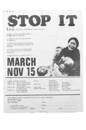Stop It . . . March Nov 15 [caption title]. Vietnam Moratorium, New Mobilization Committee to End...