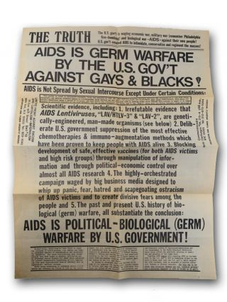 The Truth . . . AIDS is Germ Warfare by the U.S. Gov't Against Gays & Blacks! [caption title]. Graffiti, AIDS, Cranks, William H. Depperman.