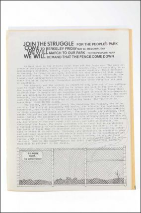 "Join the Struggle for the People's Park. Come to Berkeley Friday May 30, Memorial Day . . . [caption title; with:] Join the Struggle for the People's Park [variant with three paragraphs of text and an illustration of a fence labeled ""Prague, Calif. no admittance.""]."