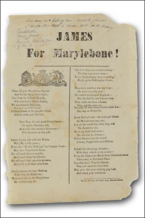 James for Marylebone! [caption title]. Class Warfare, Edwin James, Fashion, Campaign Songs