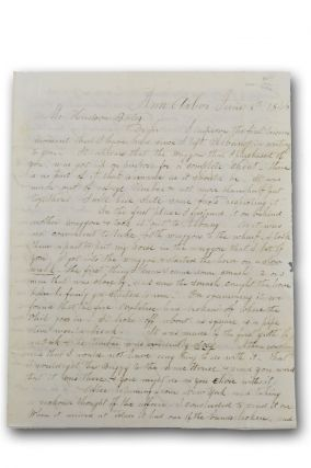 Autograph letter from an early Ann Arbor citizen, signed, to Hudson Bates of Chesterfield, Mass.,...
