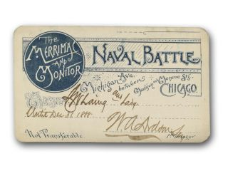 The Merrimac and Monitor Naval Battle . . . [printed ticket or press pass]. Civil War, Entertainment