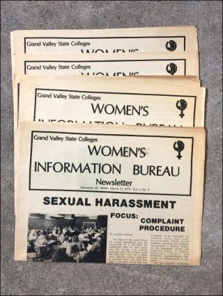 Grand Valley State Colleges Women's Information Bureau Newsletter. February 19, 1979. Vol. 2, No. 8 [caption title; with:] March 27, 1979. Vol. 2, No. 9 [with:] May 24, 1979. Vol. 2, no. 11. Feminism.