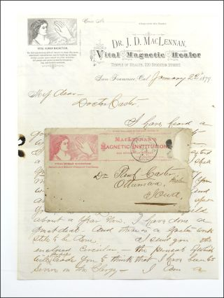 Autograph letter, signed J. D. MacLennan, on MacLennan's Vital Magnetic Healer pictorial...