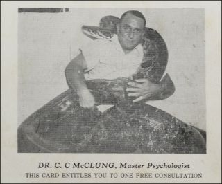 "Trade card or pitch card for ""Dr. C. C. McClung, Master Psychologist."". Trade Cards of Note,..."