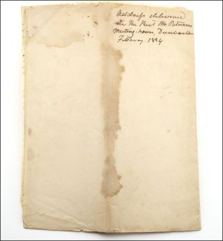 "Autograph manuscript, with the title in ink autograph docketed on the verso, ""Address delivered in The Revd. Mr. Putnams Meeting-house, Dunbarton. February 1834."""