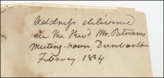 """Autograph manuscript, with the title in ink autograph docketed on the verso, """"Address delivered in The Revd. Mr. Putnams Meeting-house, Dunbarton. February 1834."""""""