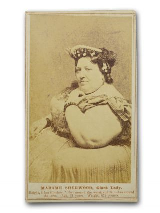 Carte de visite (CDV) studio portrait of Madame Sherwood, Giant Lady. Circus, Sideshow