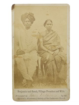 Original promotional carte de visite (CDV) photo of two native Indian missionaries, Benjamin and...