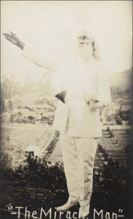 Real photo postcard portrait of John Cudney, the itinerant faith healer known as Brother Isaiah. Faith Healing, Miracle Man, John Cudney.