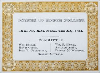 Dinner to Edwin Forrest. At the City Hotel, Friday, 25th July, 1834 . . . [caption title]....