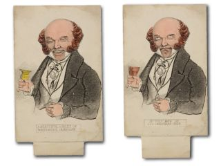 Mechanical political cartoon card of Martin Van Buren, published during the 1840 presidential...
