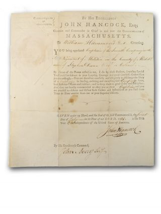 """Partially printed form, commission for William Hammond as Captain, Seventh Company, First Regiment of the Militia, under Col. Stephen Dana, signed by Hancock and countersigned by John Avery, Secretary, """"in the Fifth Year of the Independence of the United States of America."""""""