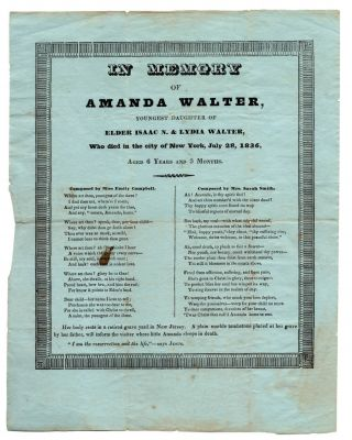 In Memory of Amanda Walter, Youngest Daughter of Elder Isaac N. and Lydia Walter, Who died in the...