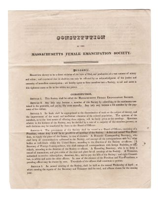 Constitution of the Massachusetts Female Emancipation Society . . . [caption title]....
