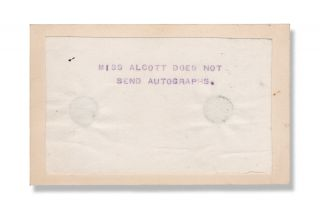 "Mechanical duplicated text in aniline ink (presumably an early hectograph), ""Miss Alcott does..."
