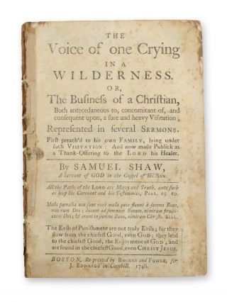 The Voice of One Crying in the Wilderness . . American Imprints, Samuel Shaw, Great Awakening