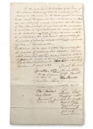 "Manuscript declaration signed by ""Inhabitants of the Town of Fair Haven, beleaving [sic] that the..."
