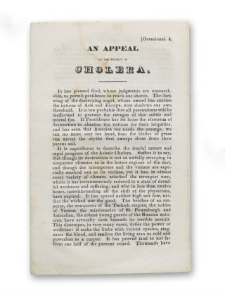 An Appeal on the Subject of Cholera [caption title]. Cholera, Anonymous