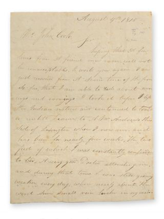 Stampless cover autograph letter, signed, to John Cook, Miller's Run, Pittsburgh [i.e.,...